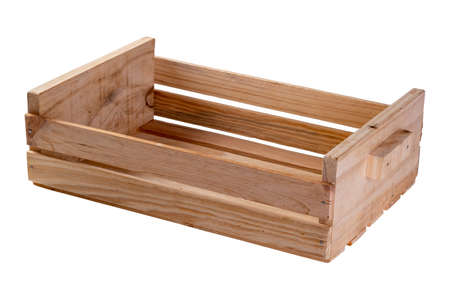 Wooden box made with pine slats used for fruits or vegetables in a farm or store on white background.