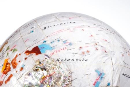 oceania: Globe positioning around Australia and Oceania