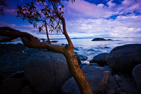 tinge: Rocky shore at sunset with a delicate pinky purple tinge to the clouds over a tranquil ocean and seashore