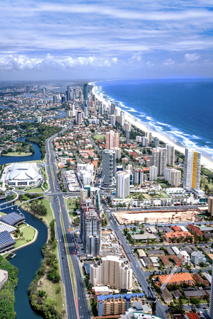 vast: Stunning aerial shot of the city of Gold Coast, Queensland, Australia, taken on a sunny day, surfers paradise