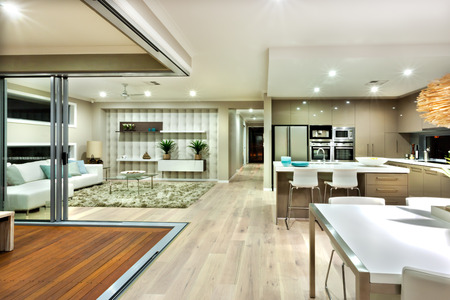 ceiling fan: The image covers a few area of luxury house included living room and kitchen.
