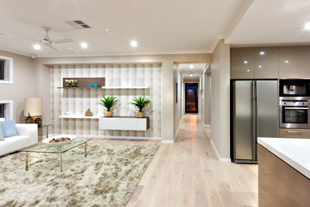 fridge lamp: Inside the modern house has a kitchen with ovens, a refrigerator and a living room with sofas, decorative items on the wall shelves, a lamp with fan and fancy items on the glass table over the wool carpet on the wooden floor. There are small lights turned