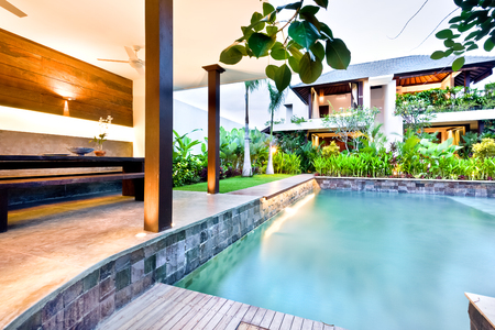 seminyak: Beautiful hotel or house in the morning, including a swimming pool beside the garden next to house