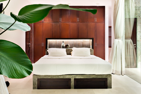 cupboards: Modern bedroom with the natural decoration with leaves  and wooden cupboards beside a glass and curtain in luxury house Stock Photo