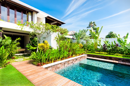 Modern garden with a swimming pool and green color fancy plants in luxury house