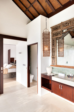 attached: Outdoor washing area with the toilet and the bedroom attached together in a luxury house