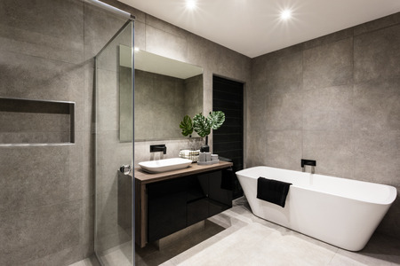 Modern bathroom with a shower area and bath tub including a wall mirror beside a fancy plant near a tap and sink over the wooden counter and dark cupboard