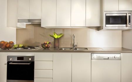 cupboards: Modern kitchen with pantry cupboards and counter top including a tap and sink with an oven fixed to table top, there are fruits under cupboards