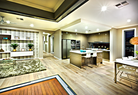 ceiling plate: illumination of the Interior lighting in a house at night with the view of living area including carpet floor and fancy items beside the hallway next to the kitchen and dining area on the wooden floor