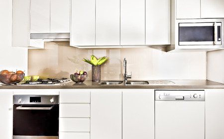 cookers: Modern kitchen interior illuminated with lights, oven and gas cooker have attached to the pantry cupboard, flower pot near the wash basin, ceramics and fruits close to cookers. Stock Photo