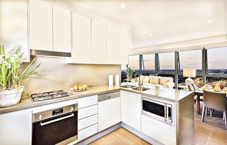 #67966806   Moderne Küche Interieur Mit Wohnzimmer Am Abend, Luxus Blick  Aus Braunen Esstisch Und Sofa, Waschbecken Und Gaskocher Haben In Die  Speisekammer ...