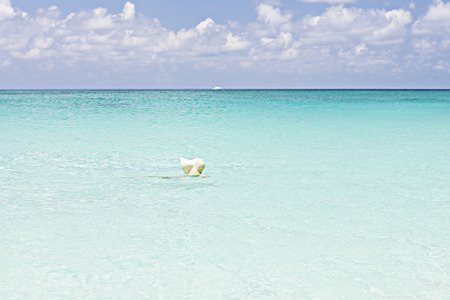 Man swimming with wearing a cap on sea, sky is blue and have white clouds, weather is good, water is clear.