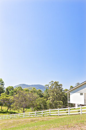 Clear blue sky and natural jungle with house, daytime scene from sun light, white fence have next to plants, very beautiful place, no clouds in sky.