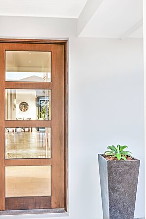 Modern house entrance with a wooden door and concrete vase including fancy plant in it. the wall is white in the front, flower pot is colorful, very clean area.