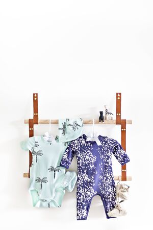 Dresses are hanging on the wooden hanger with tree patterns and white dots, the blue dress has a pants and shirts attached together beside the green lady dress, the toys on the round wood pipe 写真素材