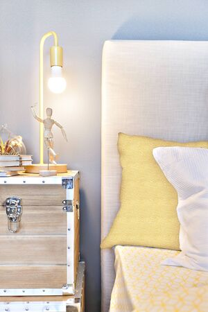 Modern bedroom close up with cushion pillows and a wooden doll posing under the table lamp on the suitcase with books and plants in the glass jug, there are designed on the pillows on the bed