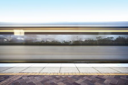 Fast train design with station floor, sunlight around the area, morning time and rush hours, floor is tiled, sky is clear.