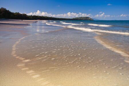 Waves crashing on a beach with dense foliage