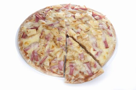 Cheese pizza with vegetables and fruits, vegetable mixed food design, background is white color, inside of a hotel or luxury home kitchen.