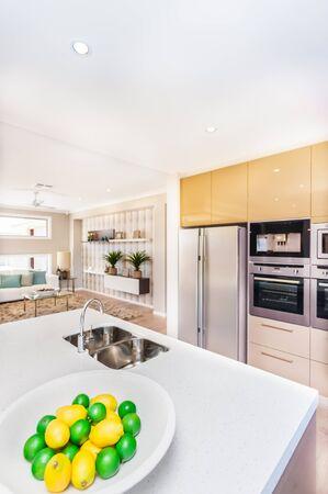 Luxe keuken in het huis. Er zijn fruit op het bord zoals citroen in de buurt van de kraan en de wastafel van het witte werkblad, de koelkast en de oven met pantrykasten aan de muur. Er is een goed ingerichte kamer naast de keuken? Stockfoto