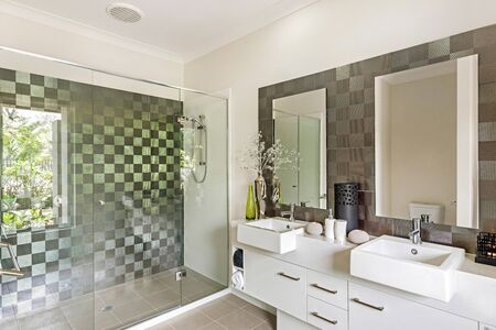 Impressive bathroom featuring a double-basin cabinet, mirrors, and a glass-separated shower area