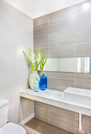 The wash area and the toilet decorated using a light color vase and white flowers with blue glass bottles on the countertop near to the white washstand. the mirror is lika bar attached to the pattern  写真素材
