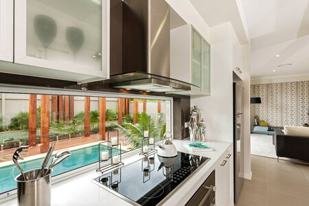 Magnificent kitchen counter with an induction hob, cutlery, decorative piece, and designer cabinets