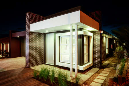 New home with a square facade