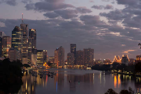 Brisbane City after Sunset. Kangaroo Point, Australia