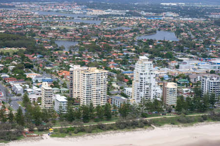 An empty beach located just in front of a city in Queensland, Australia
