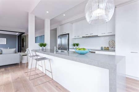 Modern kitchen. Interior design of new kitchen with appliances. High quality photo Foto de archivo