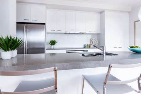 Modern kitchen. Interior design of new kitchen with appliances. High quality photo Stock Photo