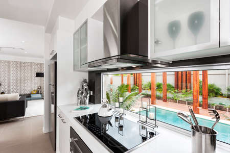 Interior shot of a bright modern kitchen