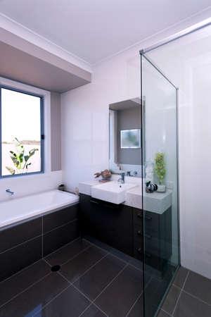 A luxury modern bathroom interior design view