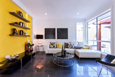 Interior view of a living room in new luxury home Stock Photo