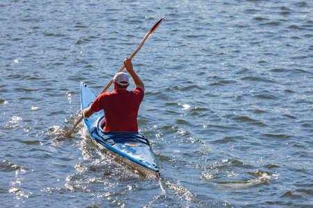 Man kayaking on Brisbane river