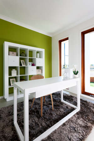 A bright workroom in a luxury house Stock Photo