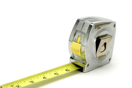 Isolated shot of a tape measure.