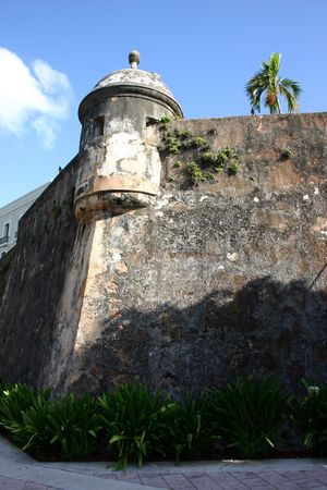 A gun turret from the El Morro castle in Old San Juan, Puerto Rico on a beautiful sunny day.  Stock Photo