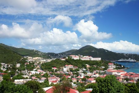 Cruise ships are docked at the port in St Thomas in the Caribbean on a beautiful sunny day.  Stock Photo - 2511062