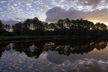 intercoastal: Scenic sunrise shot of the tree line in silhouette along the Neuse River in North Carolina.