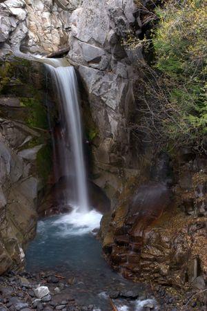 The final waterfall along Van Trump Creek on Mount Rainier, WA.  Stock Photo