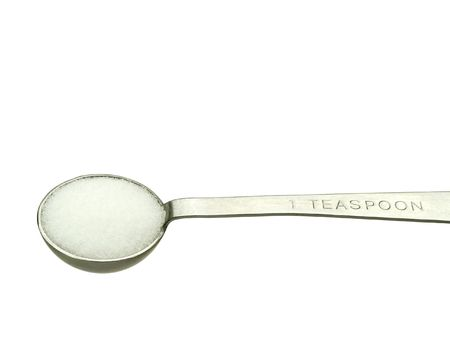Studio isolated shot of salt in a teaspoon