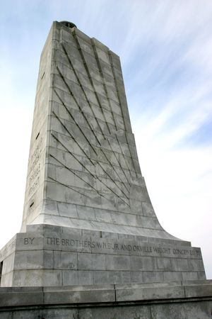 A close up focused on the Wright Brothers Memorial in Kitty Hawk, North Carolina.  Stock Photo