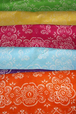 A collection of colorful, patterned  cloth bandanas. Stock Photo - 2629862
