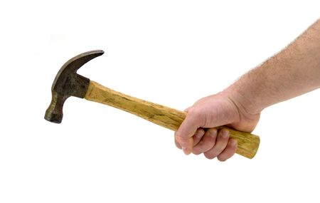 Isolated shot of a man gripping a hammer against a white background.