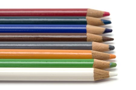 A row of colored pencils shot against a white background. Stock Photo - 2702539