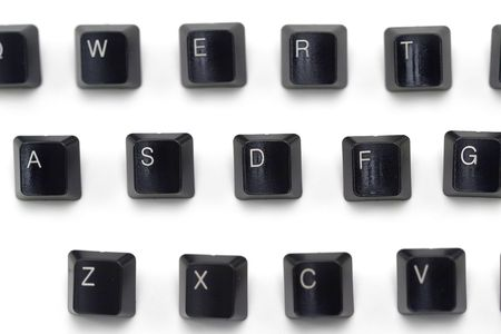 Isolated shot of computer keyboard keys on a white background.