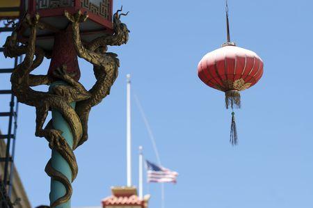An abstract shot of a dragon and lamp in China Town, San Francisco.