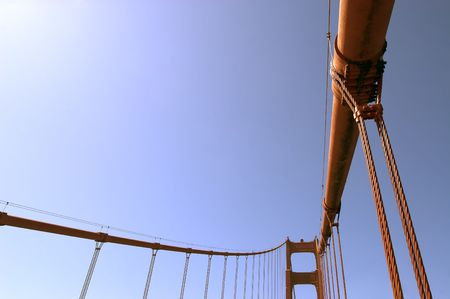 A shot of the supporting cables of the Golden Gate Bridge.